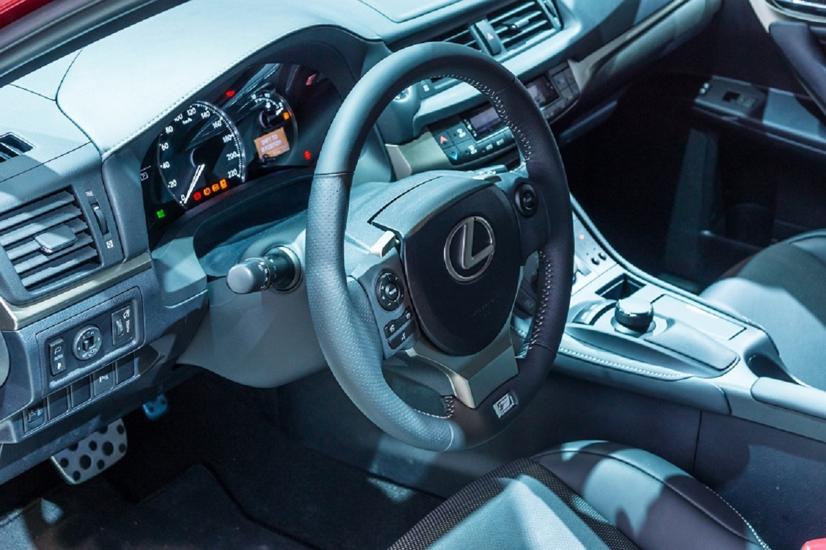 Moscow, Russia, August 30, 2014 - Salon and dashboard of a modern Lexus car